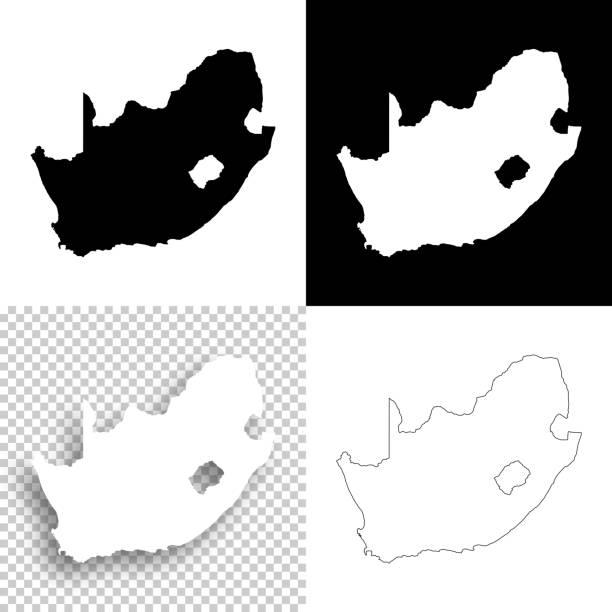 設計 - 南アフリカ共和国の地図の空白、白と黒の背景 - 南アフリカ共和国点のイラスト素材/クリップアート素材/マンガ素材/アイコン素材