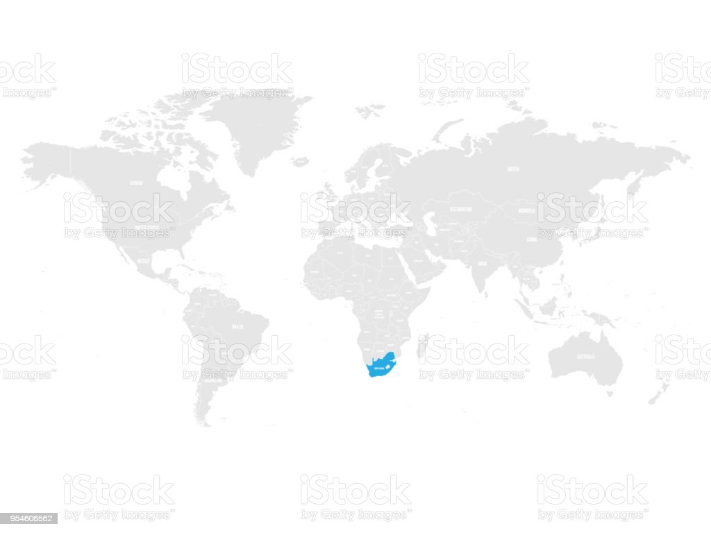 South Africa Marked By Blue In Grey World Political Map Vector - World map wallpaper south africa