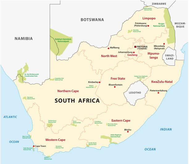 bildbanksillustrationer, clip art samt tecknat material och ikoner med sydafrika national park karta - south africa