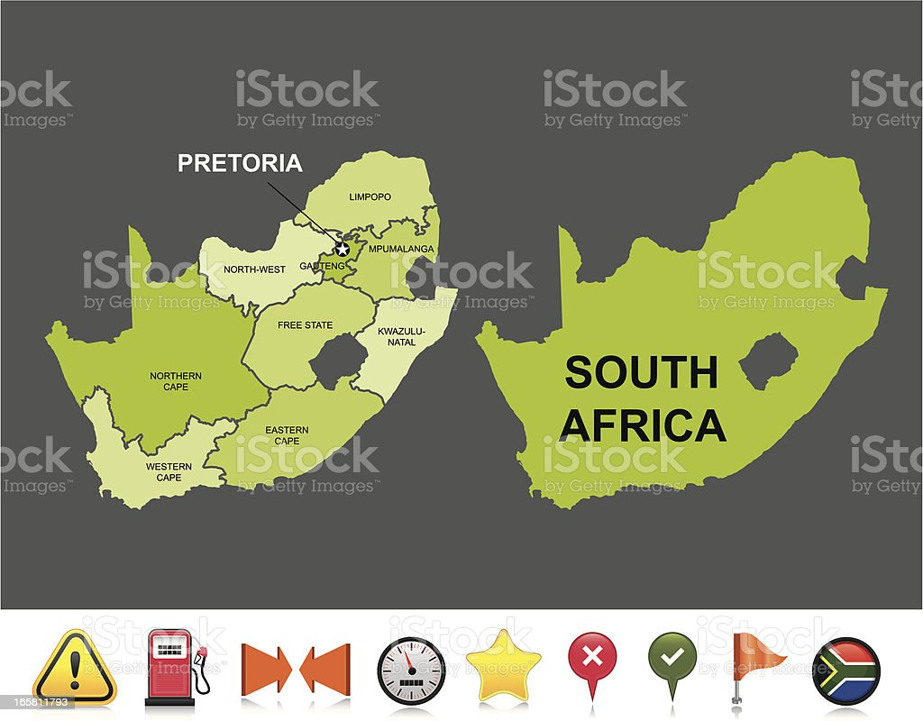 South Africa navigation map royalty-free stock vector art
