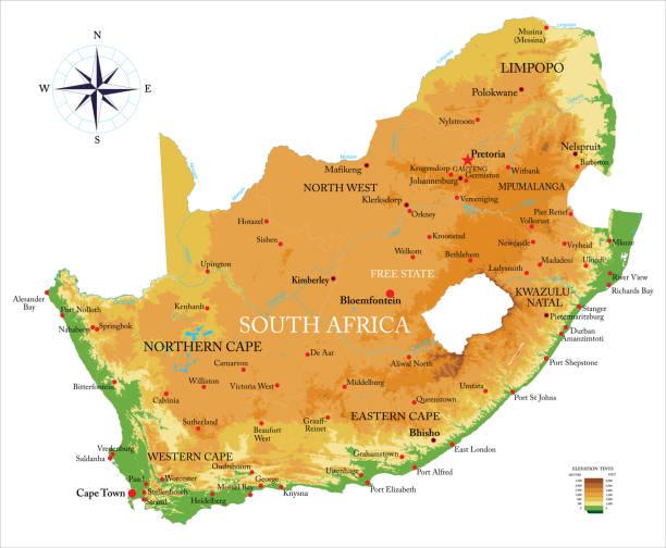 bildbanksillustrationer, clip art samt tecknat material och ikoner med sydafrika fysisk karta - south africa