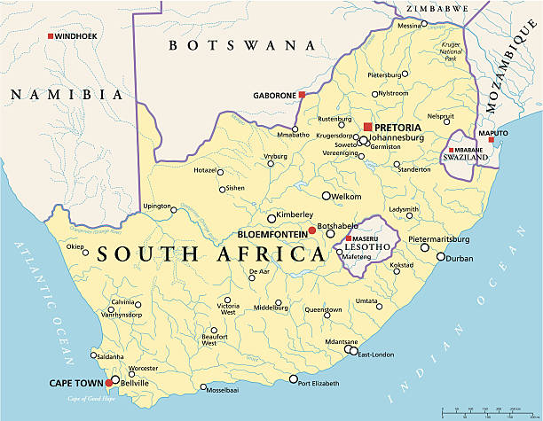 bildbanksillustrationer, clip art samt tecknat material och ikoner med south africa political map - south africa