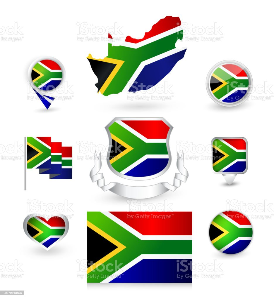 South Africa Republic Flag Collection vector art illustration
