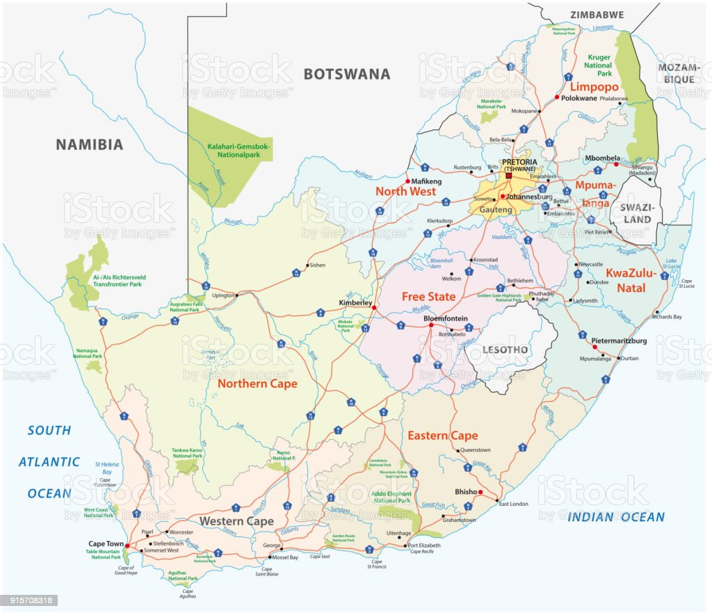 South Africa Road Administrative And Political Vector Map Stock