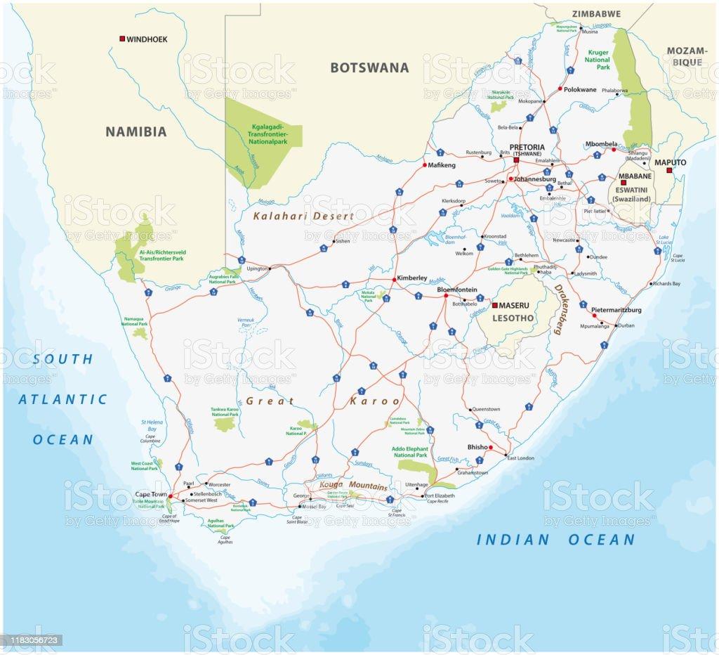 Sudafrika Strasse Und Nationalpark Karte Stock Vektor Art Und Mehr