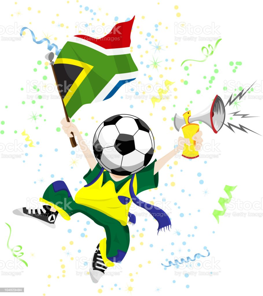 South Africa Soccer Fan with Ball Head. royalty-free stock vector art