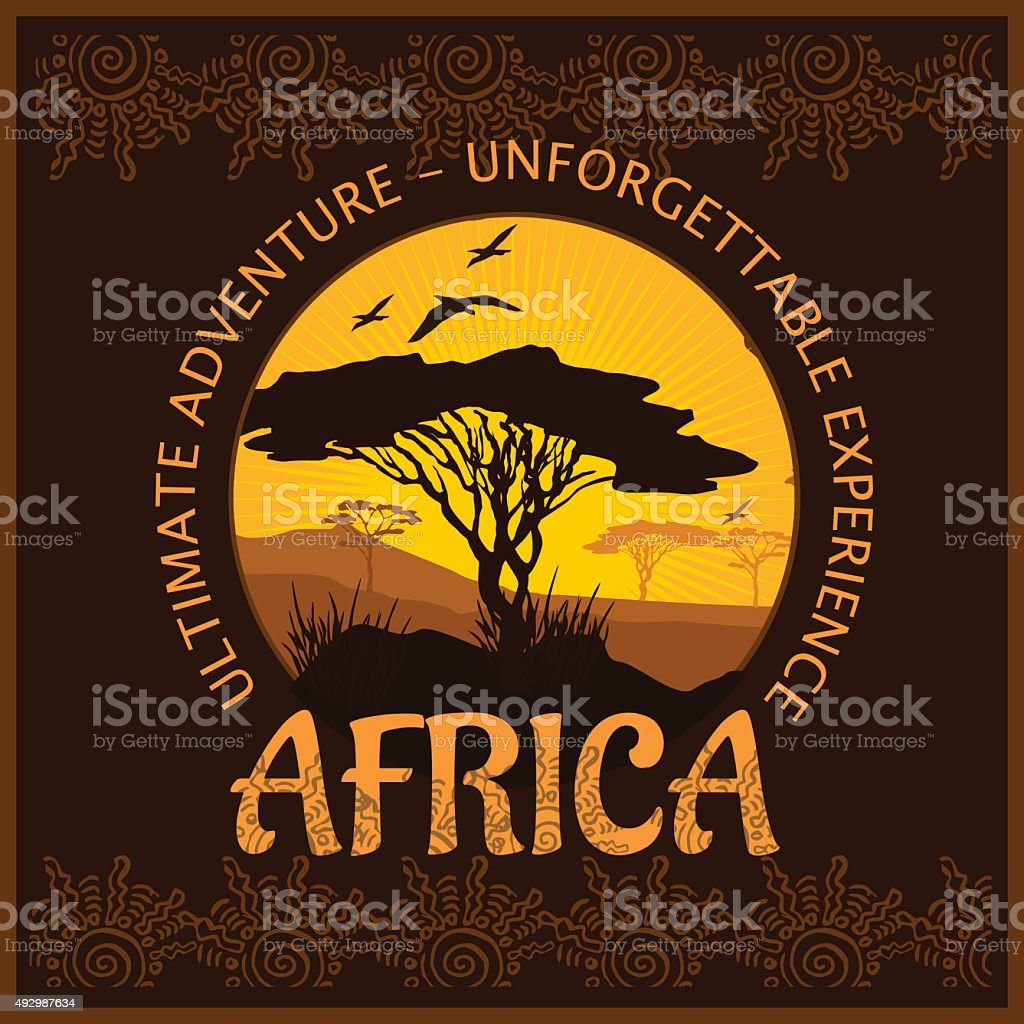 South Africa - unforgettable trip vector art illustration