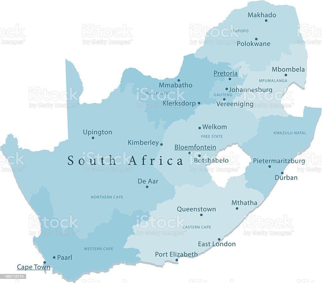 South Africa Vector Map Regions Isolated vector art illustration