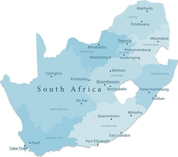 bildbanksillustrationer, clip art samt tecknat material och ikoner med south africa vector map regions isolated - south africa