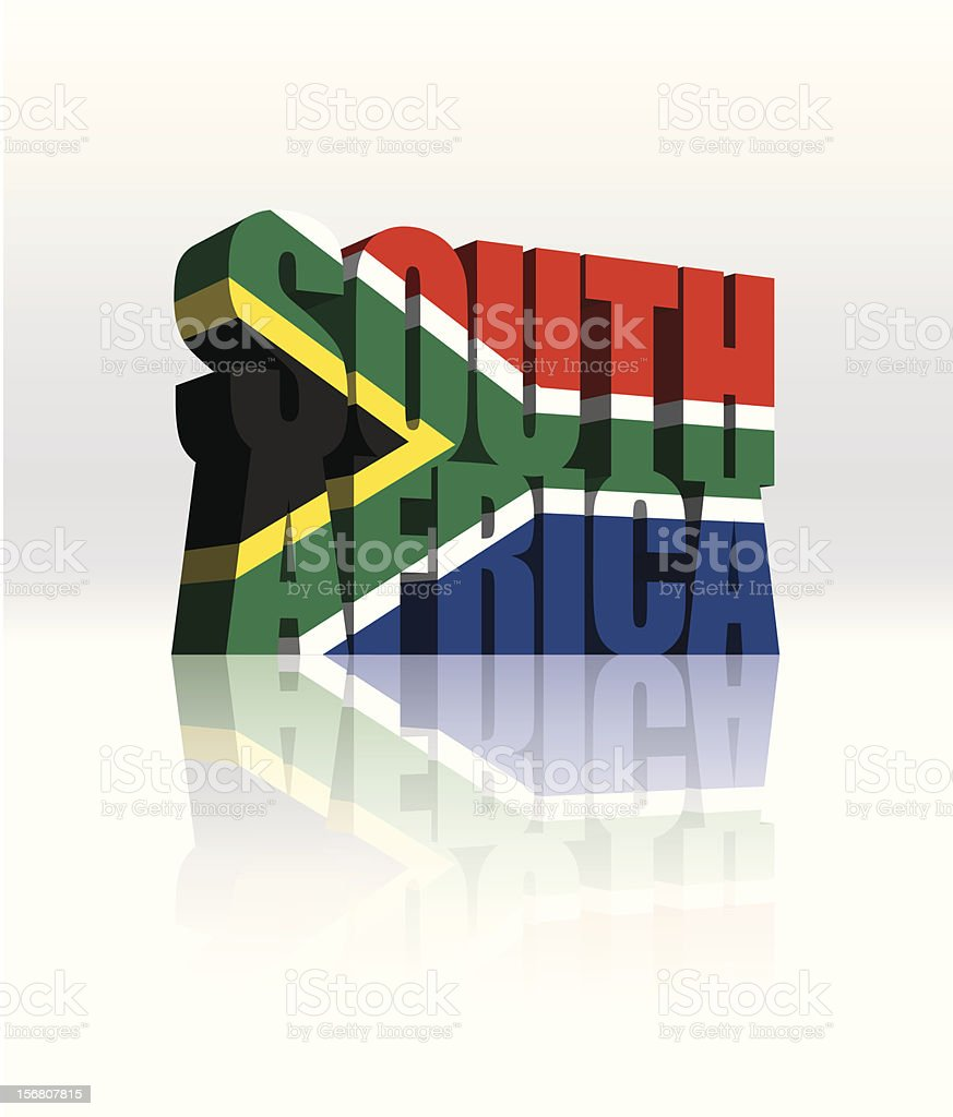 3D South Africa Vector Word Text Flag royalty-free stock vector art