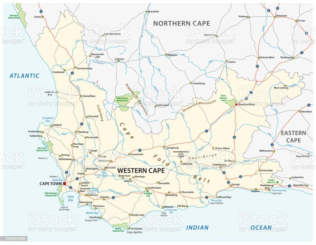 Carte Afrique Du Sud Ouest.Route De La Province Du Cap Ouest Afrique Du Sud Et La Carte De Parc