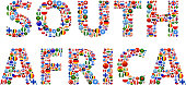 South Africa World Flags Vector Buttons. The word is composed of various flag buttons. It represents globalization and cooperation between nations. The flag buttons fill in the letters and form a seamless pattern. Flags include United States, Great Britain, Germany, Canada, European Union, Russia, Switzerland, Israel, China and many more.