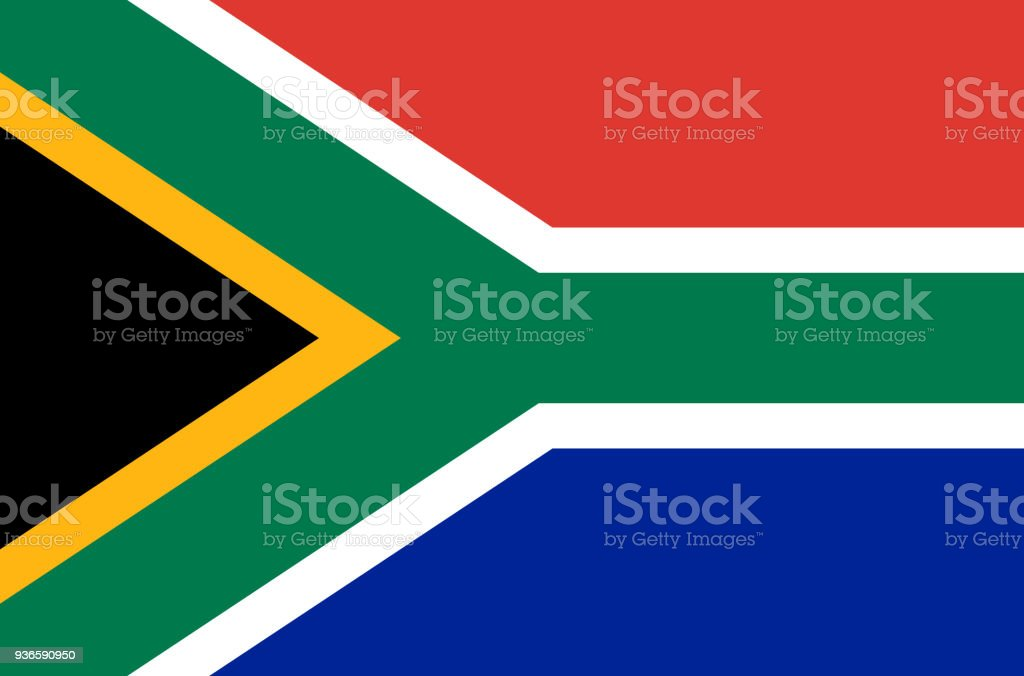 south african national flag, official flag of south africa accurate colors, true color vector art illustration