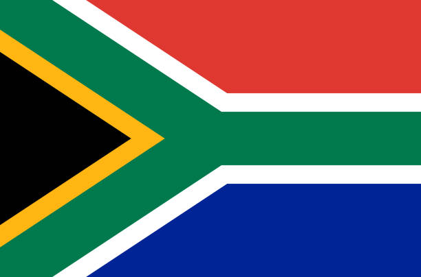 stockillustraties, clipart, cartoons en iconen met zuid-afrikaanse nationale vlag, de officiële vlag van zuid-afrika nauwkeurige kleuren, ware kleur - zuid