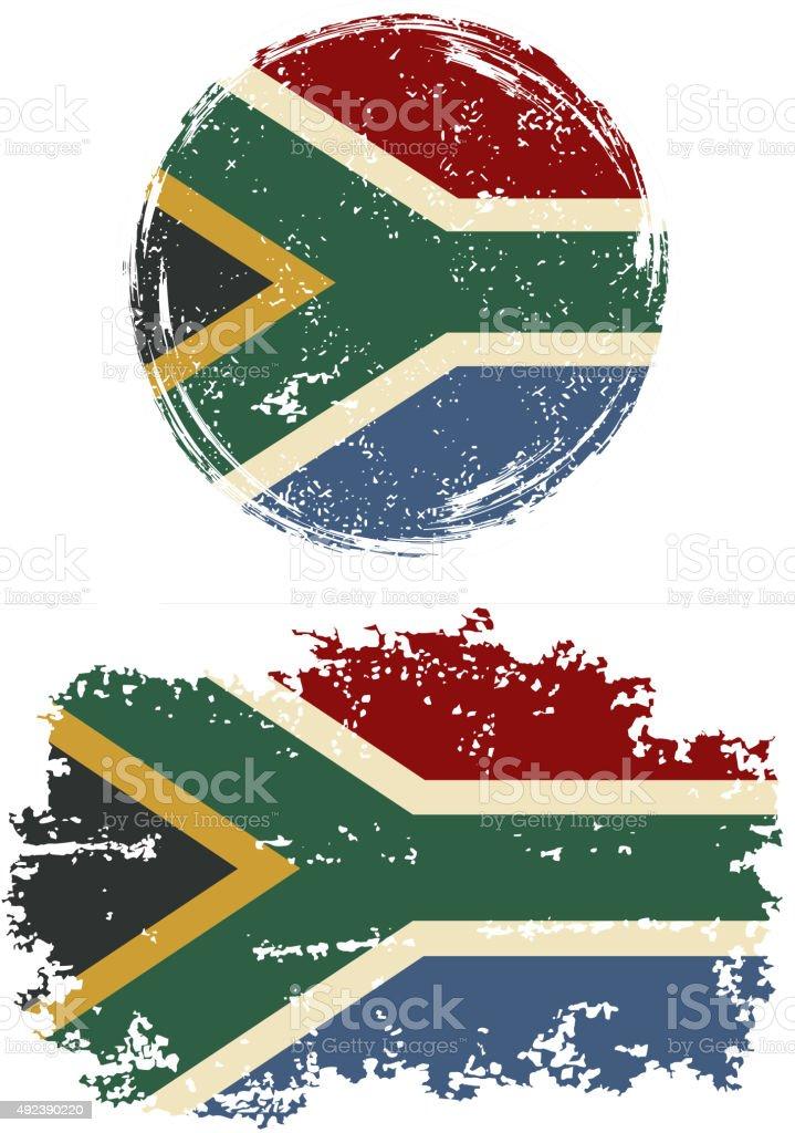 South African Runde und quadratische grunge Flaggen. Vektor-illustration – Vektorgrafik