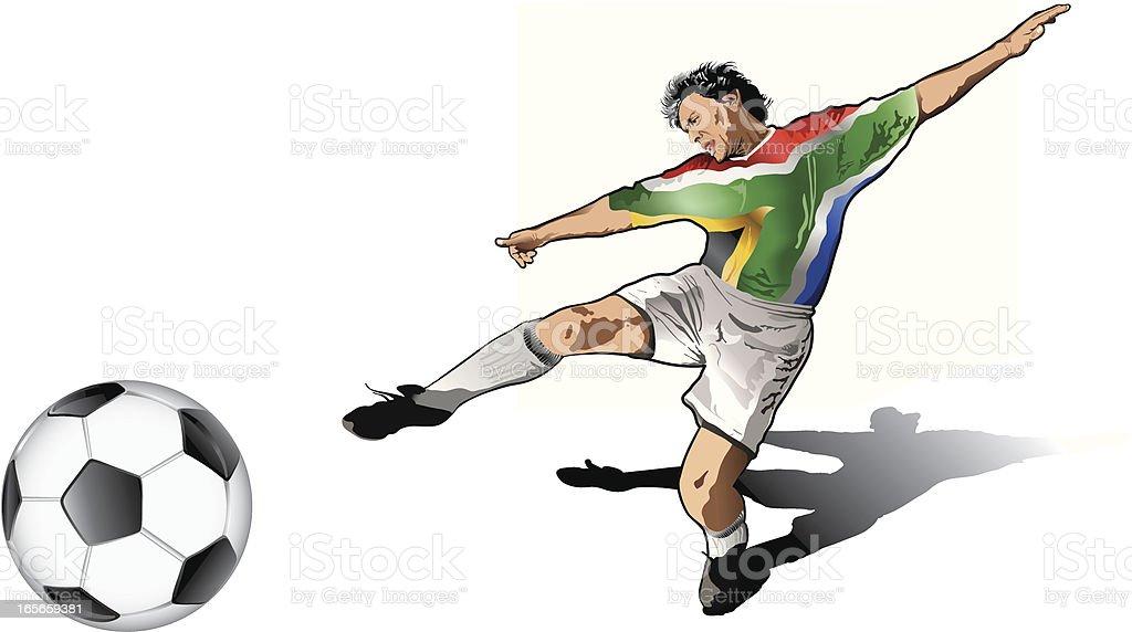 South african soccer player vector art illustration