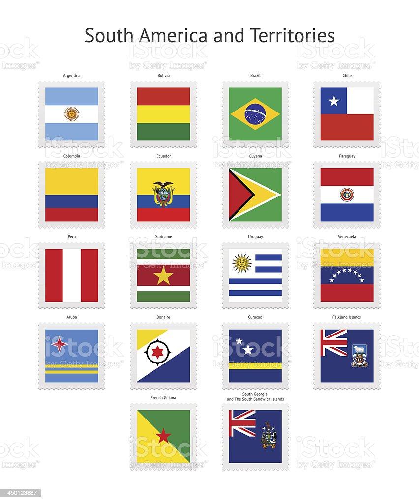 América del Sur y territorios sello postal Banderas colección - ilustración de arte vectorial