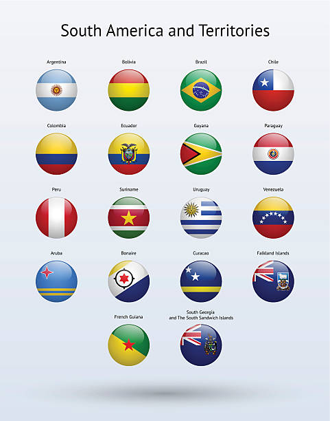 south america and territories round flags collection - ecuador flag stock illustrations