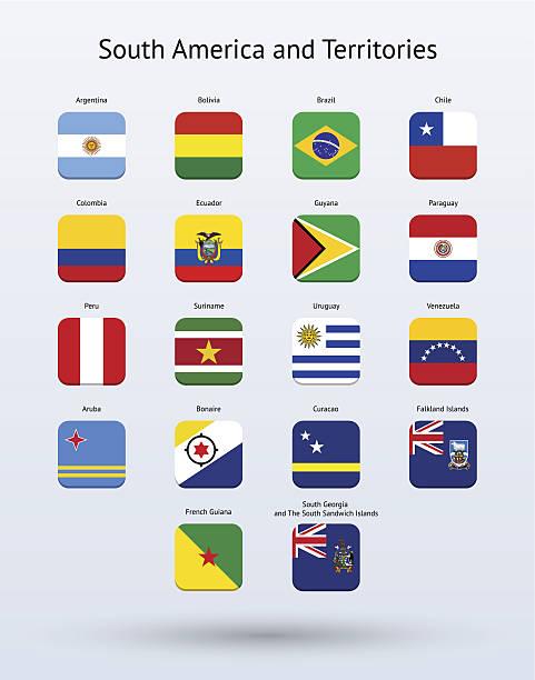 América del Sur y territorios Square colección de iconos de Banderas - ilustración de arte vectorial