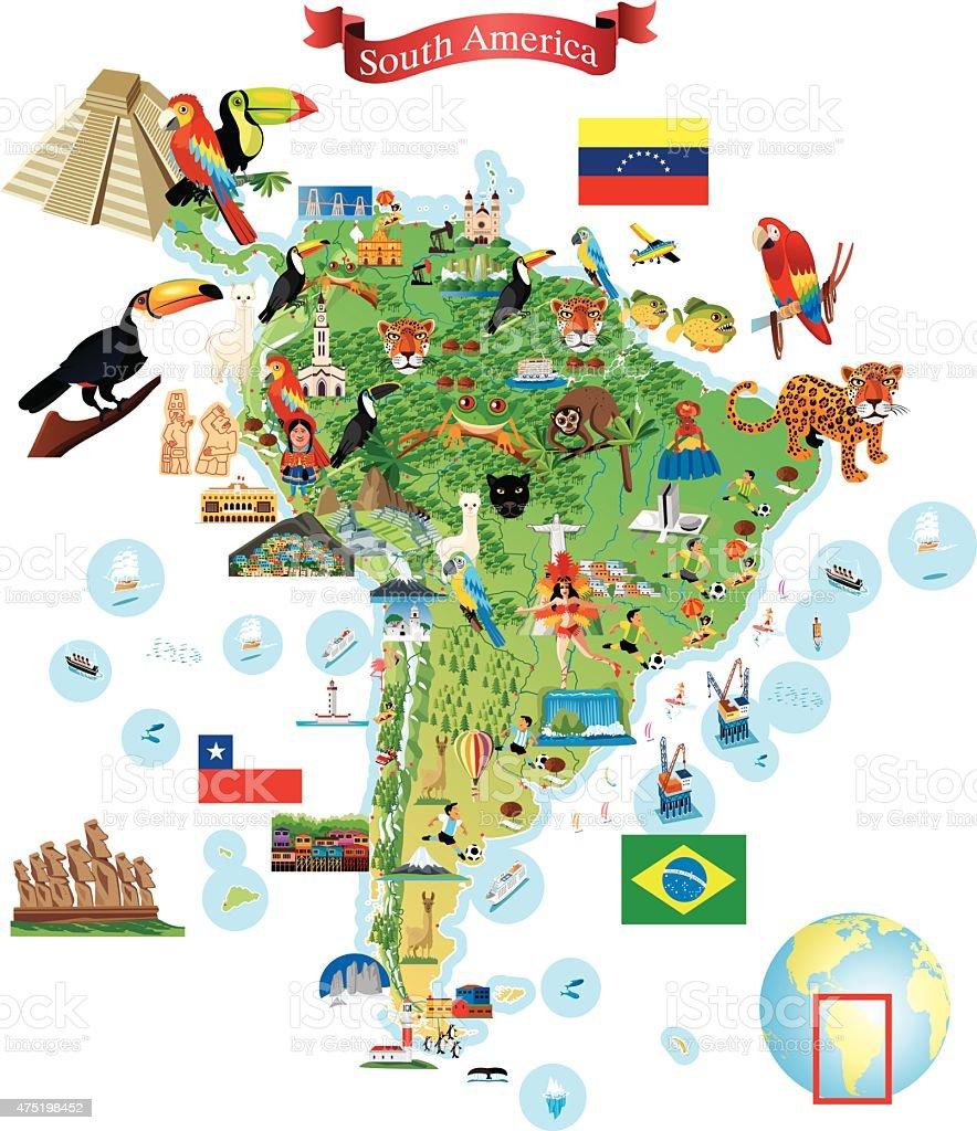 Carte de dessin animé de l'Amérique du Sud - Illustration vectorielle