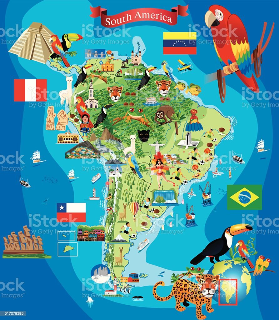 South America Cartoon Map Stock Vector Art More Images of Amazon
