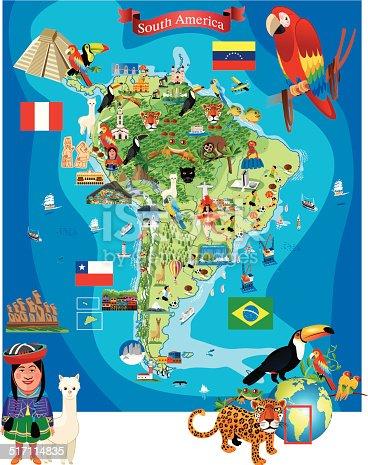 istock South America Cartoon Map 517114835