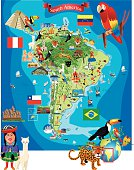 South America Cartoon Map