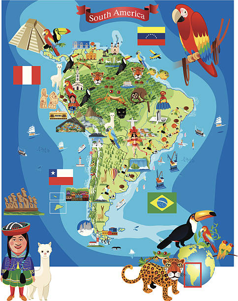 südamerika comic-karte - flagge ecuador stock-grafiken, -clipart, -cartoons und -symbole