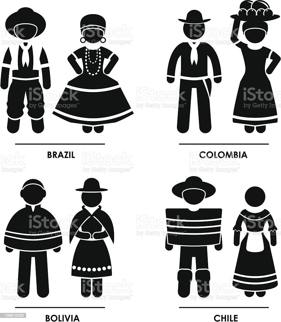 South America Clothing Costume Pictogram royalty-free south america clothing costume pictogram stock vector art & more images of adult