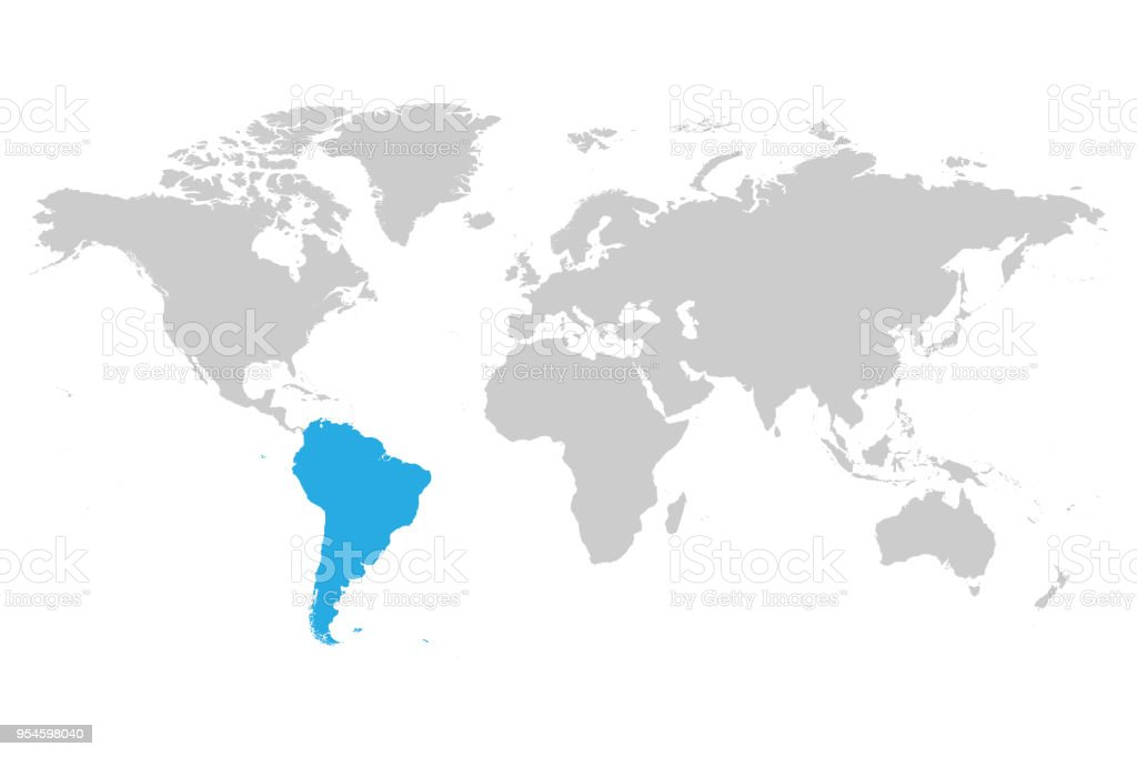 South america continent blue marked in grey silhouette of world map south america continent blue marked in grey silhouette of world map simple flat vector illustration gumiabroncs Choice Image