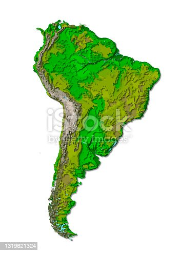 istock South America continent, detailed papercut layered map with shadows, isolated on white background. Elements of this image furnished by NASA. 1319621324