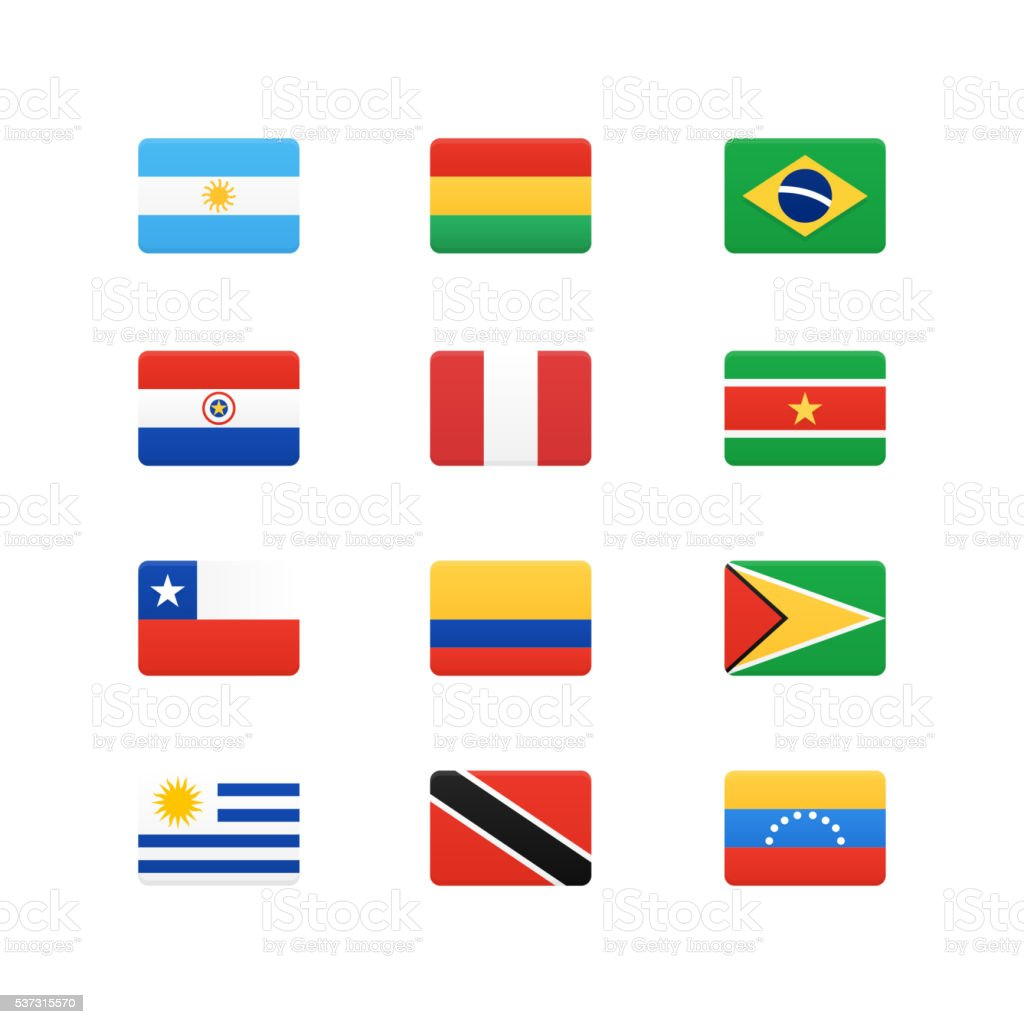 South America Continent Flags vector art illustration