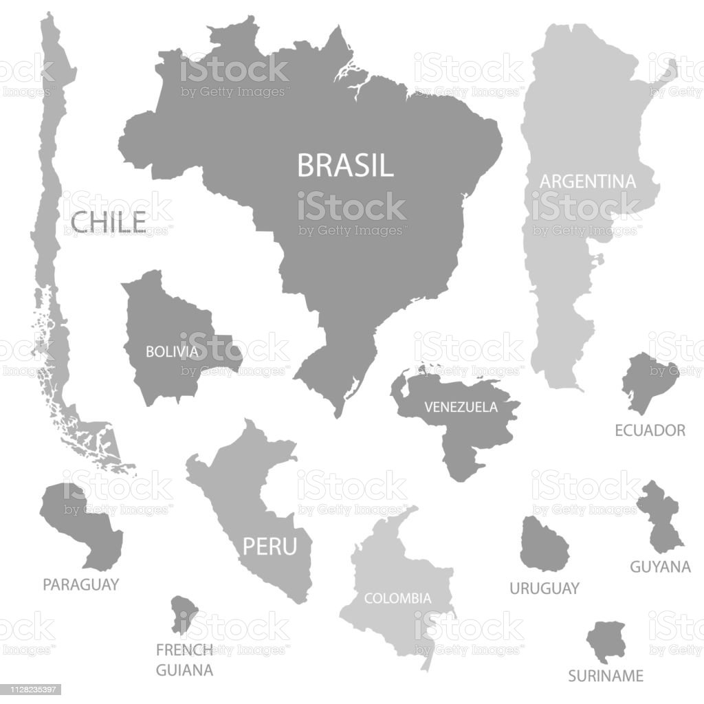 South America Countries Maps Set Stock Illustration ...