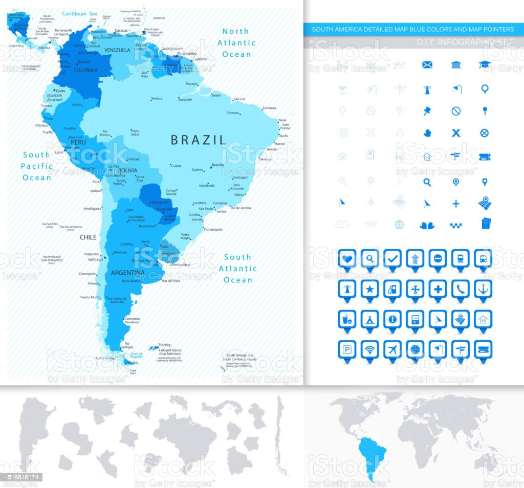 South America Detailed Map Blue Colors And Map Pointers Collecti vector art illustration
