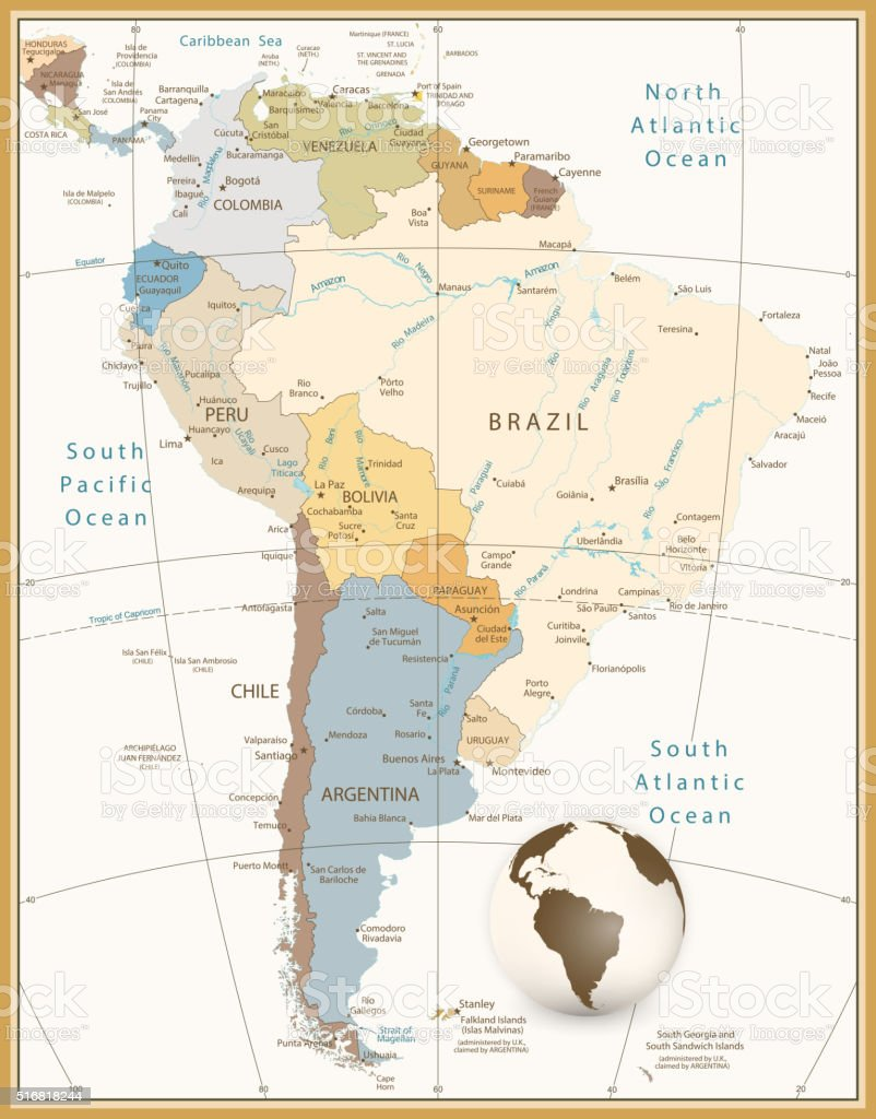 Detailed Map Of America.South America Detailed Map Retro Style All Elements Are Separated In