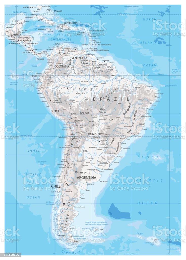 Mapa Fisico De America.Ilustracion De Mapa Fisico De America Del Sur Y Mas Vectores Libres De Derechos De Argentina
