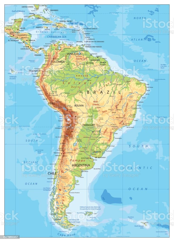 South America Detailed Physical Map Stock Illustration Download Image Now Istock