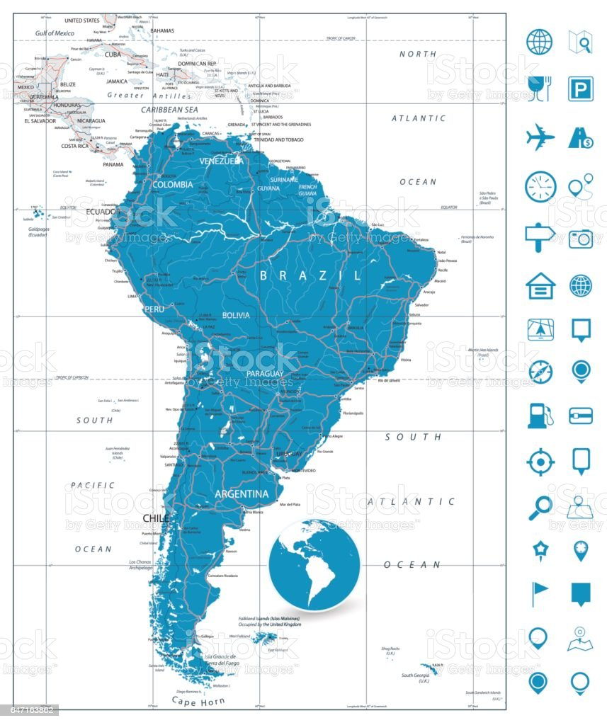 Cape Horn On South America Map.South America Detailed Road Map Stock Vector Art More Images Of