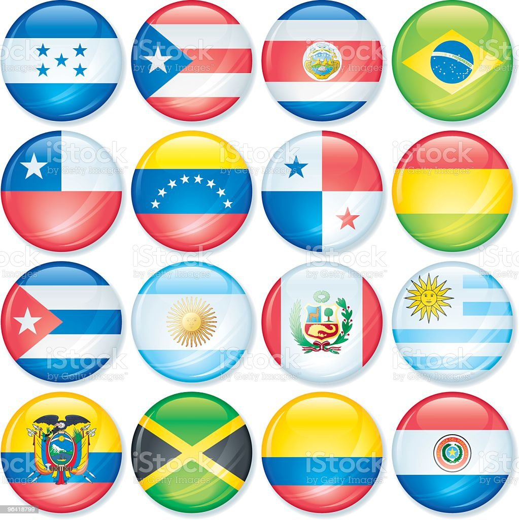 South America Flags Super Glossy vector art illustration
