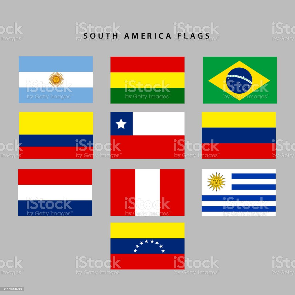 South america flags vector art illustration