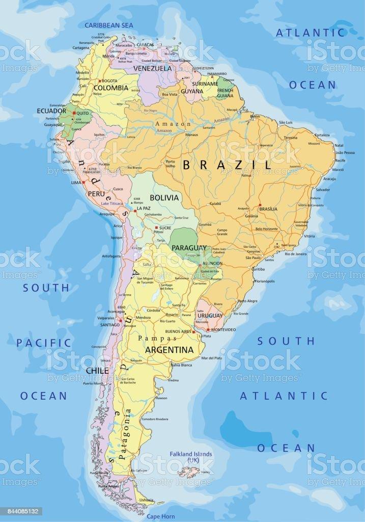 Mapa Político De Sudamérica.Ilustracion De Sudamerica Mapa Politico Editable Altamente
