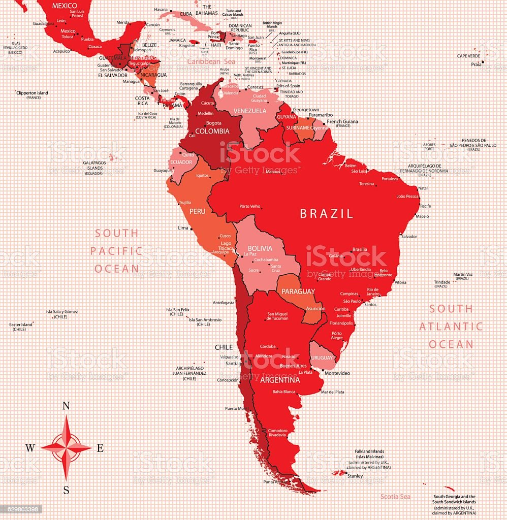 South America - highly detailed map vector art illustration