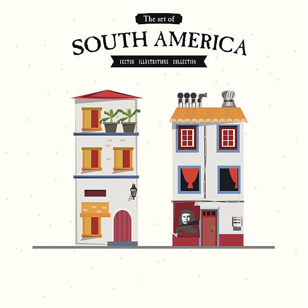 südamerika-house-stil-vektor-illustration - cartagena stock-grafiken, -clipart, -cartoons und -symbole