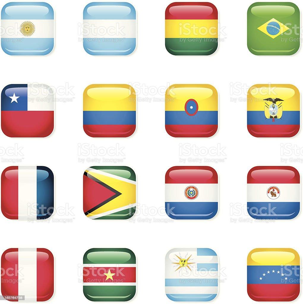 Ícone bandeiras da América do Sul - ilustração de arte em vetor