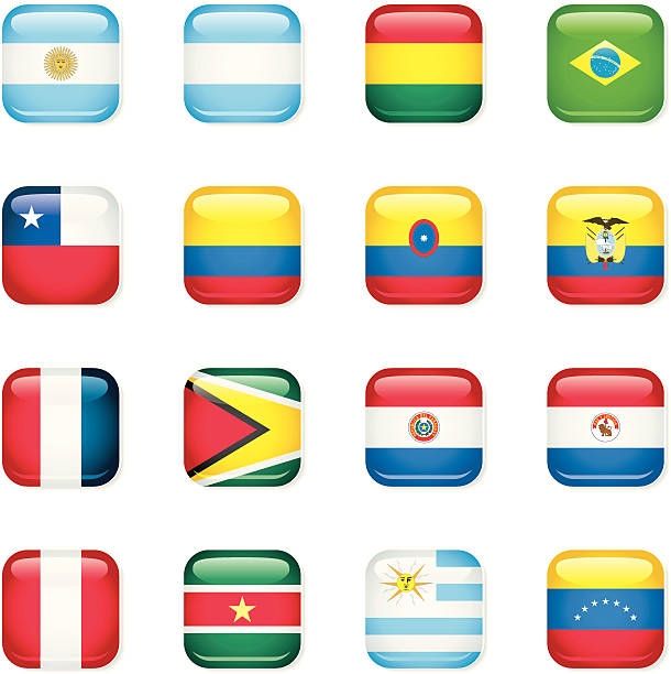 south america icon flags - ecuador flag stock illustrations