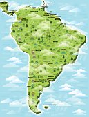 A detailed illustrated map of South America, showing named countries and capital cities, on 11 layers to aid editing.