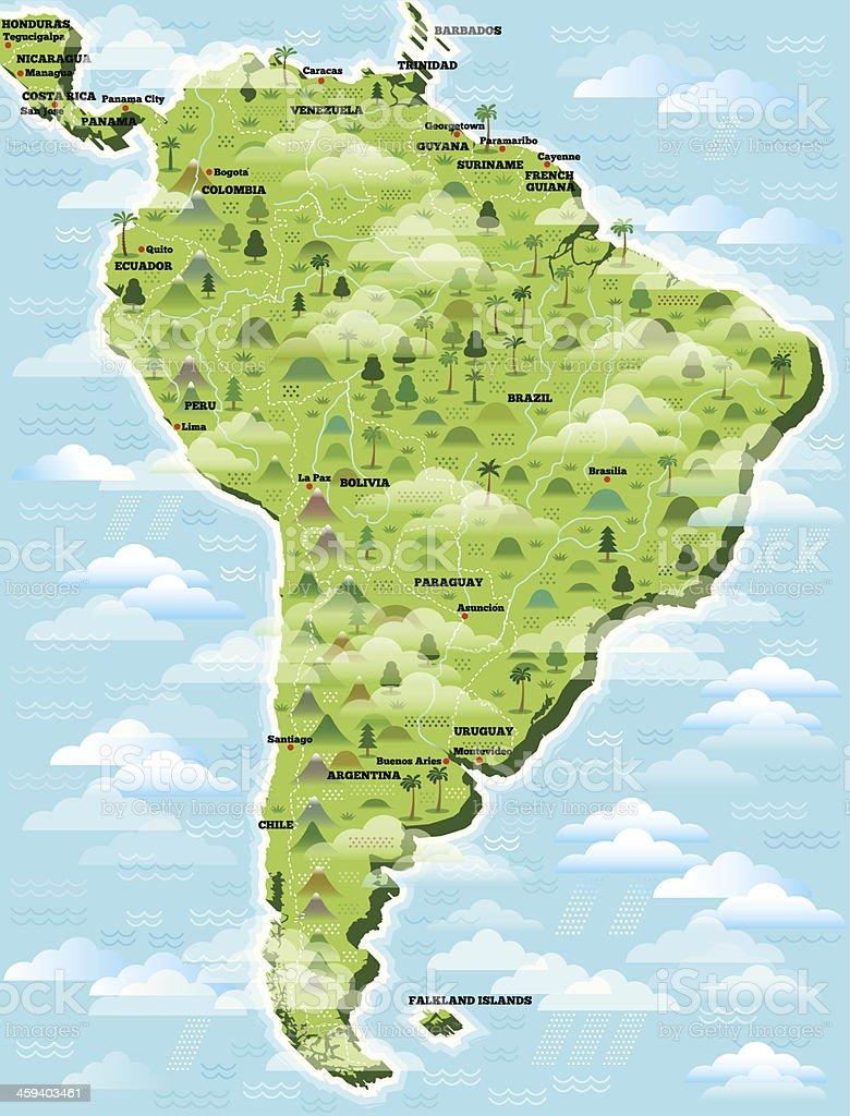 Ilustrado Mapa da América do Sul. - ilustração de arte em vetor
