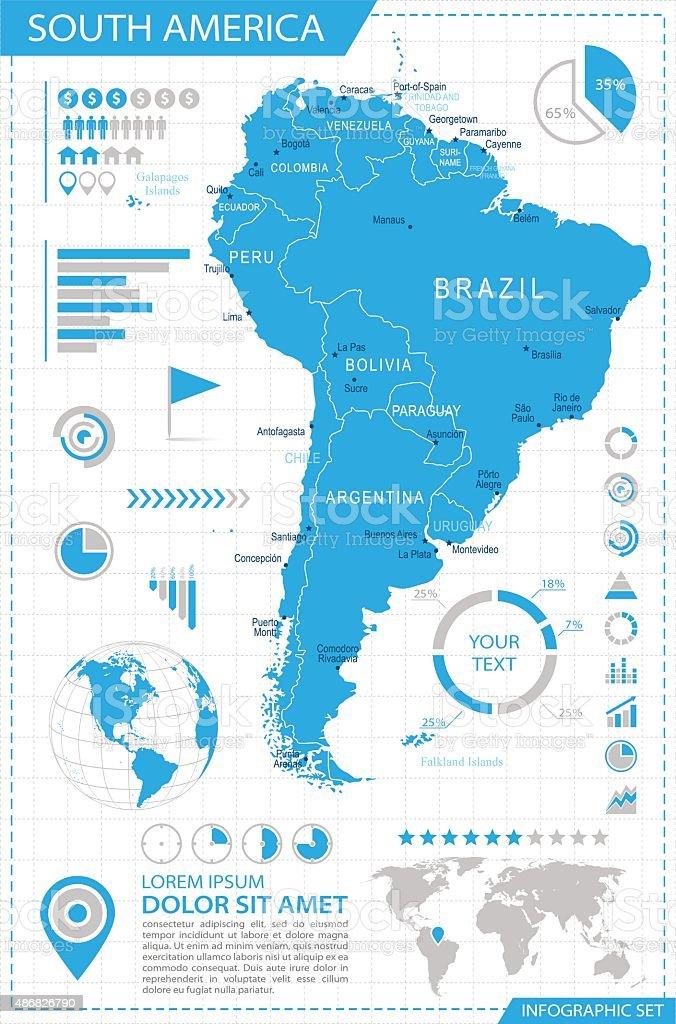 South America - infographic map - Illustration vector art illustration