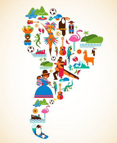 South America love - concept illustration with vector icons