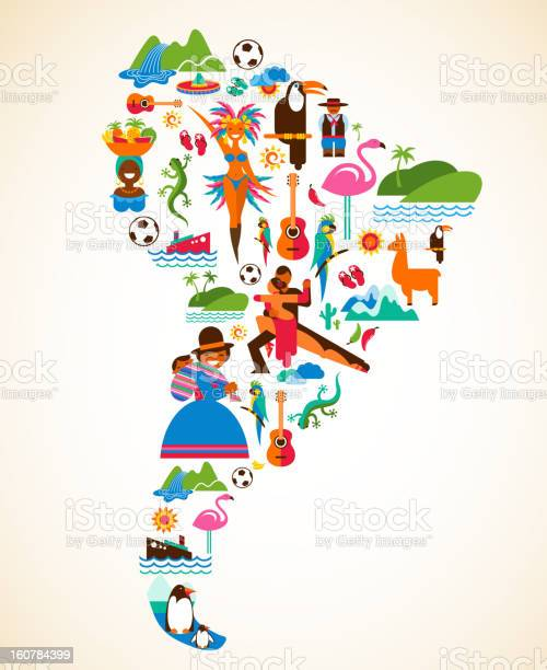 South america love concept illustration with vector icons vector id160784399?b=1&k=6&m=160784399&s=612x612&h= h5fsqxcvel4kkjp9z cnciag nfxhe1wu oa6f4hr4=